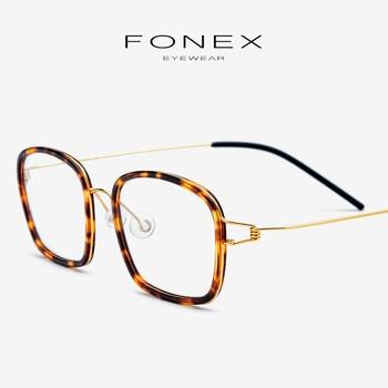 62bfed377e Aleación de titanio gafas marco óptico de los hombres de la miopía  ultraligero receta Corea gafas mujer sin tornillos gafas 98617