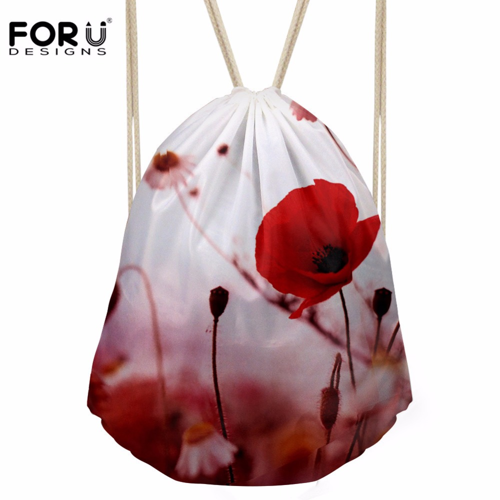 FORUDESIGNS Women's Drawstring Bag Females 3D Flower Prints Backpack Girls Kids Fashion Packaging Package For Travel Mochilas