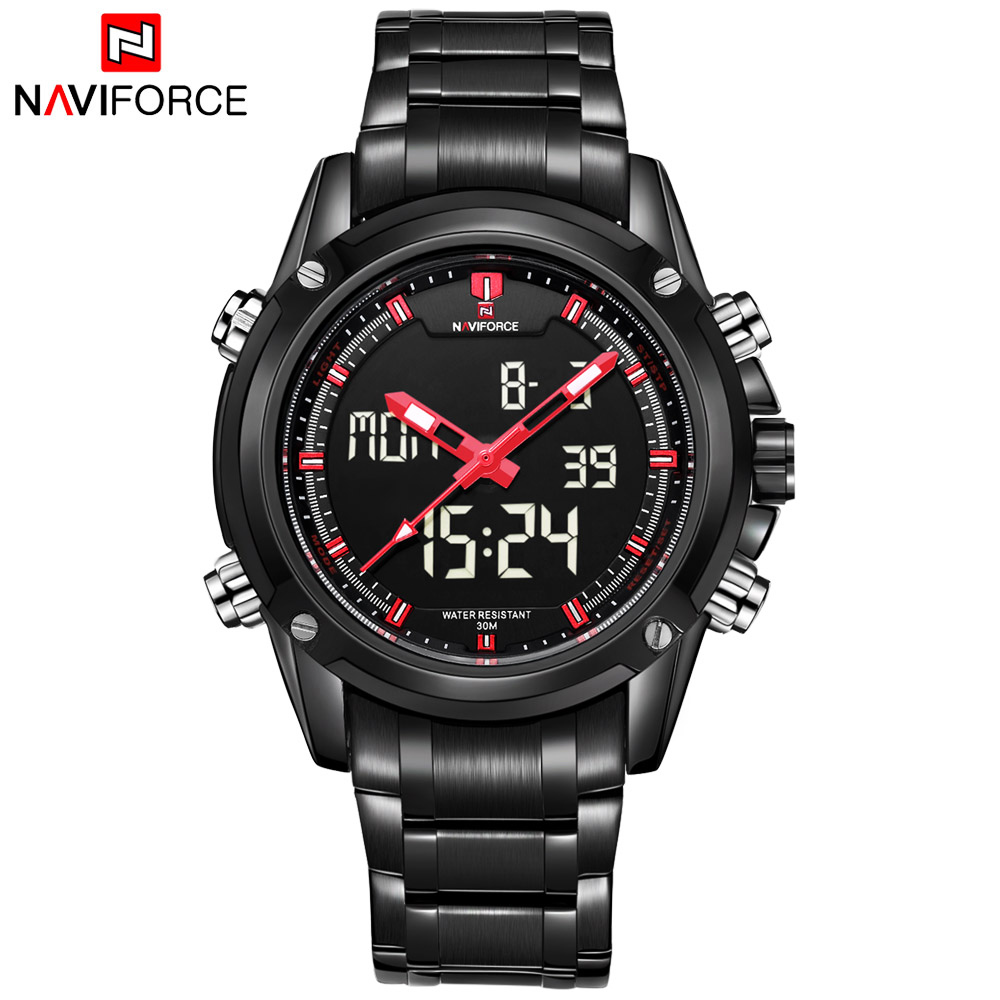 2017 New Luxury Brand NAVIFORCE Men Army Military Watch Men's Quartz LED Digital Full Steel Wrist Watch Men Sports Watches new weide army watches men s full steel luxury brand quartz military sports watch analog digital display free shipping wh843
