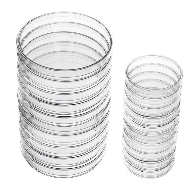 Plato plástico de Petri platos estériles con tapa, 100mm y 60mm, 20 piezas
