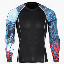 Flower Arm Sports Fast-drying Fitness Clothes Men's T-shirt Basketball Running Fitness Clothes  Training Compressed Cloth