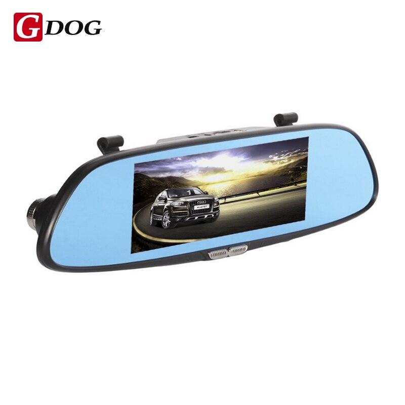 """imágenes para Cámara del coche dvr del espejo retrovisor de 6.5 """"pantalla lcd de dos vista dividida g-sensor motion grabación de bucle de detección de radar de aparcamiento"""