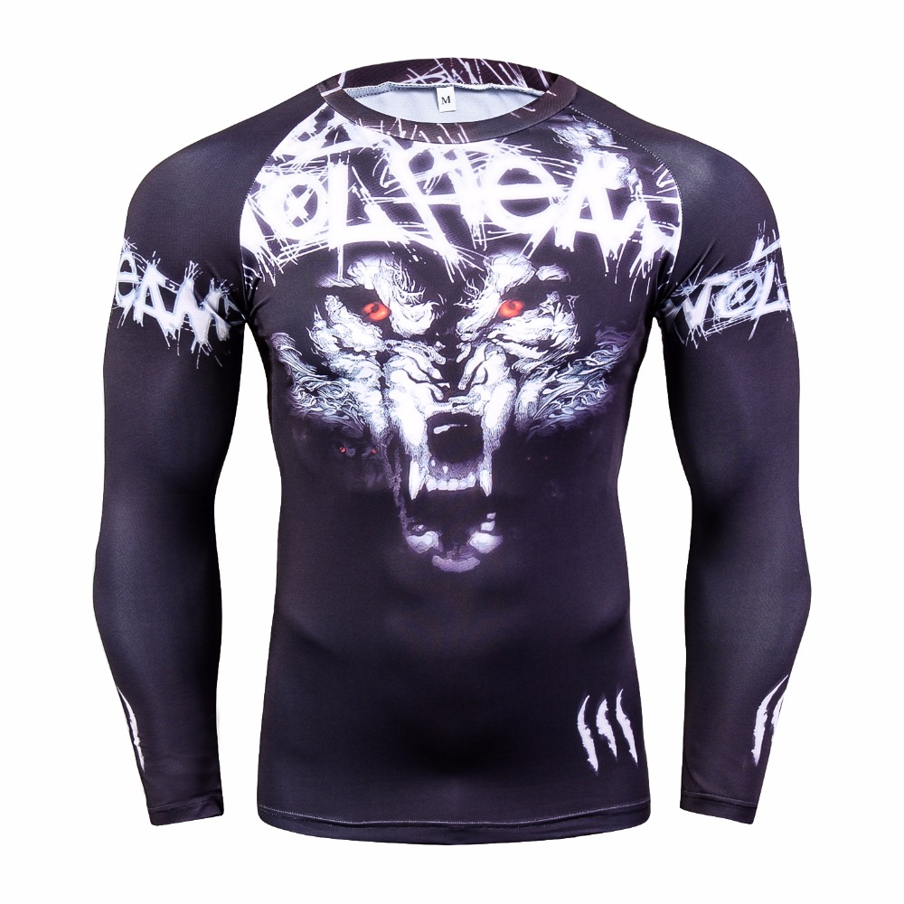 Mens Fitness Cool Wolf 3D Prints Long Sleeves   T     Shirt   Men Bodybuilding Skin Tight Thermal Compression   Shirts   Youths Workout Tops