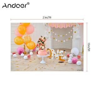 Image 2 - Andoer 2.1 * 1.5m/7 * 5ft First Birthday Backdrop Balloon Cake Photography Background Baby Kids Photo Studio Pros