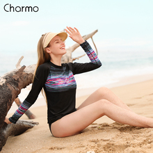 Charmo Women Long Sleeve Rashguard Swimwear Retro Floral Print Surfing Top Running Shirt Striped Rash Guards UPF50+ Swimsuit floral striped raglan sleeve top