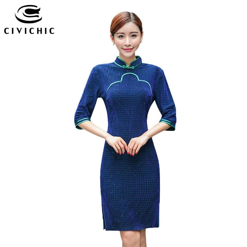CIVICHIC Plus Size Women Velvet Cheongsam Retro Autumn Winter Elegant Dress Female Chic Mid Sleeves Qipao Lady Vestidos QP124