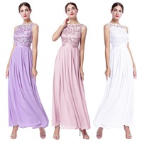 2019 New Elegant Embroidered Lace Dress for Women Girls Wedding Evening Party Sleeveless High Waist Slim Tulle Long Dress Ladies