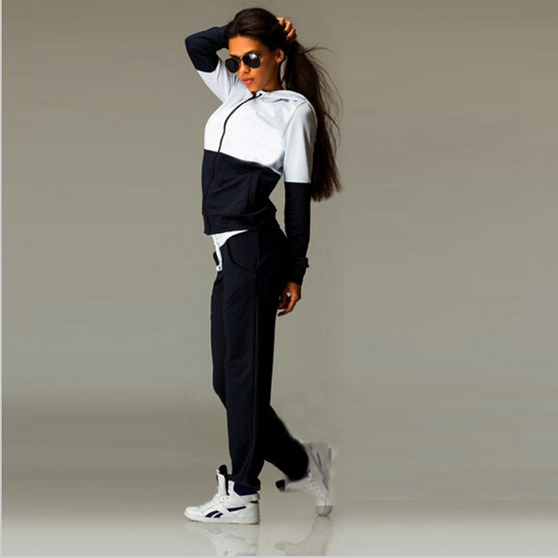 Womens casual suit Europe and the United States new fashion sportswear stitching hooded zipper sweater suit Ladys suit