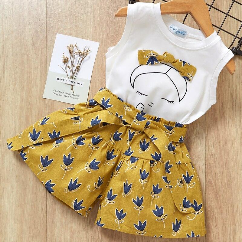7ebf74004 2019 nuevo estilo de verano niñas conjuntos de ropa de impresión de dibujos  animados T-shirt + corto 2 piezas para niños ropa 3-7Y sin mangas ropa ...