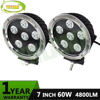 YNROAD 7inch 60W Chrome colour Led work light spot /flood beam 6pcs*10W leds IP67 led driving light for 4WD SUV ATV 4800LM