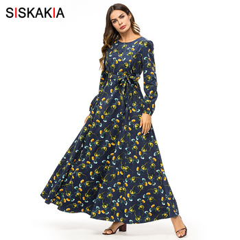 Siskakia Velvet Floral Long Dress Navy Blue Maxi Muslim Women Dresses Winter Autumn 2018 A line Swing Dress Thick long Sleeve