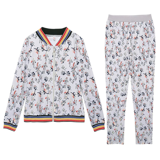 Two pieces set tracksuit Fashion sweatsuits And Pants wome 2018 Autumn Originals Gym Joggers striped  Jacket Suit  For female