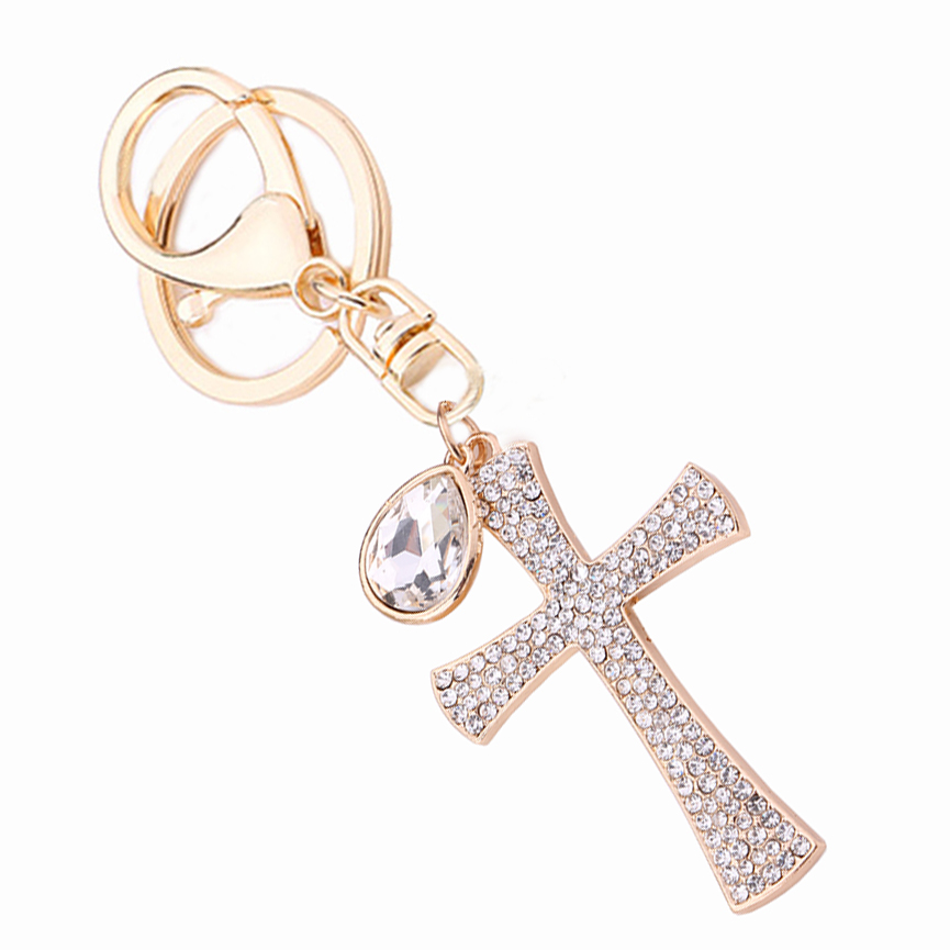Novelty Christian Gift Rhinestone Cross Keychain Crystal Keyring Charm Handbag Pendant Key Holder Women Bag Decoration R014