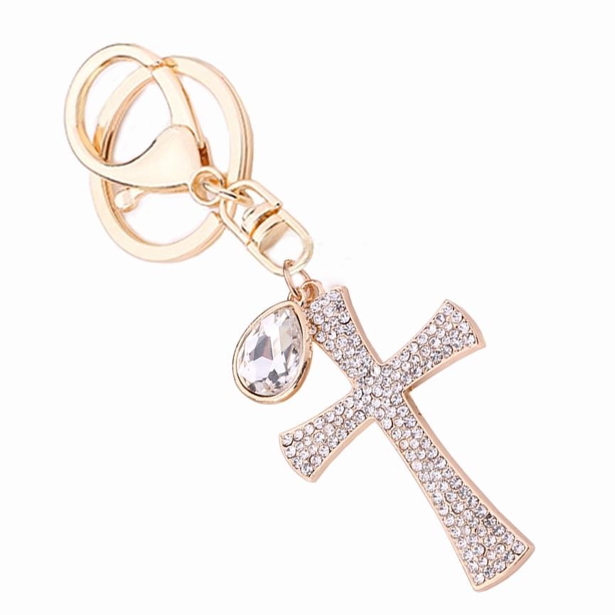 Novelty Christian Gift Rhinestone Cross Keychain Crystal Keyring Charm Handbag Pendant Key Holder Women Bag Decoration R014