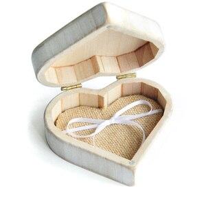 Image 2 - Vintage Beyaz Kalp Alyans Kutusu, Kişiselleştirilmiş Ahşap Düğün Halka Yastık Kutusu, Rustik Düğün Yüzük Tutucu Kutusu