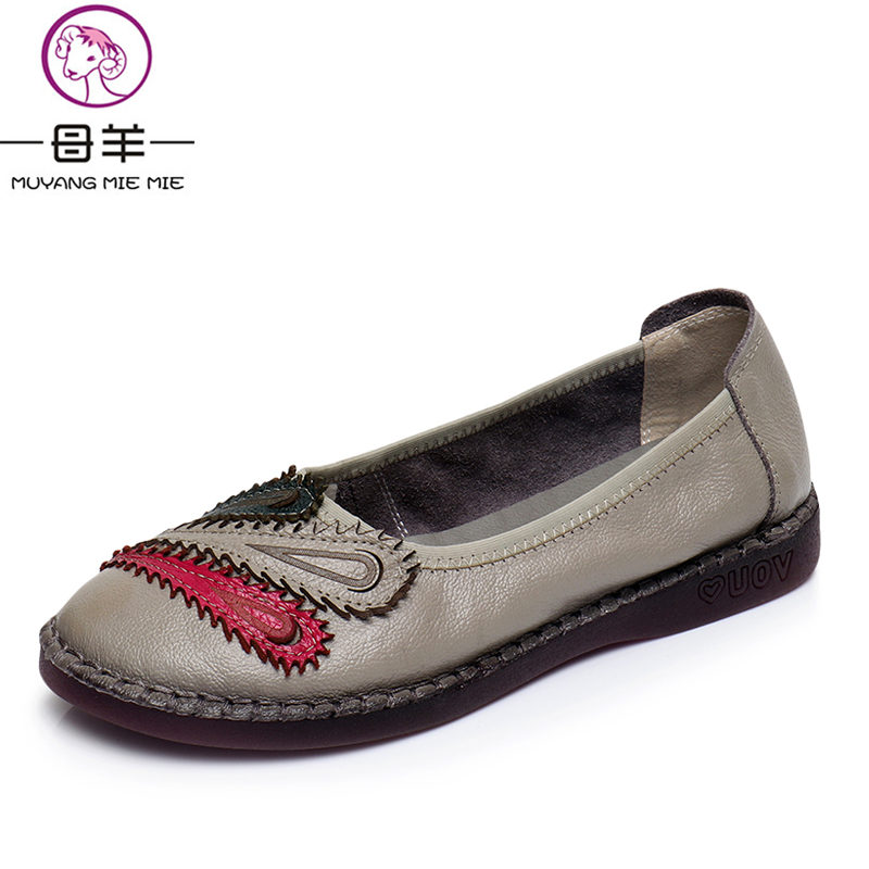 MUYANG MIE MIE Women Flats New Fashion Genuine Leather Flat Shoes Woman Casual Comfortable Shoes Women Shoes muyang mie mie genuine leather women shoes woman casual flower single flat shoes soft comfortable women flats