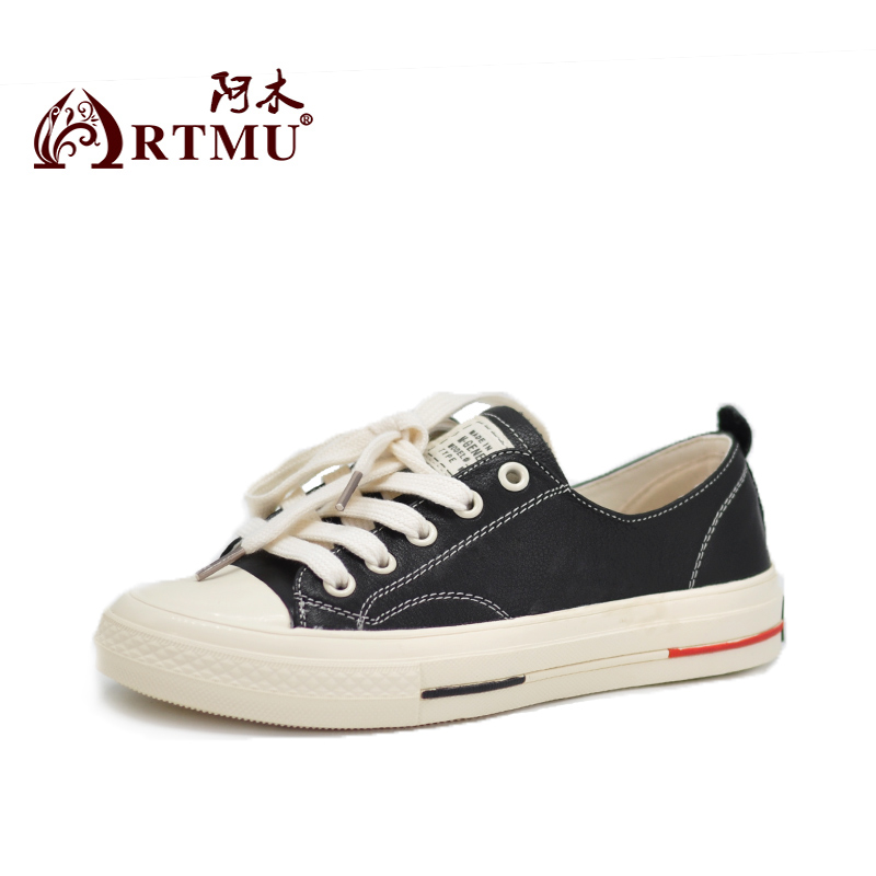 Artmu New Women Shoes Red Shoes Flats Handmade Cowhide Shoes Handmade Vulcanize Soft Woman Sneakers zapatos