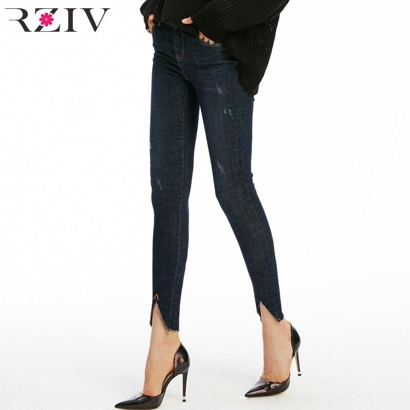 RZIV осень для женщин джинсы для повседневное одноцветное цвет отверстие Высокая талия стрейч узкие джинсы