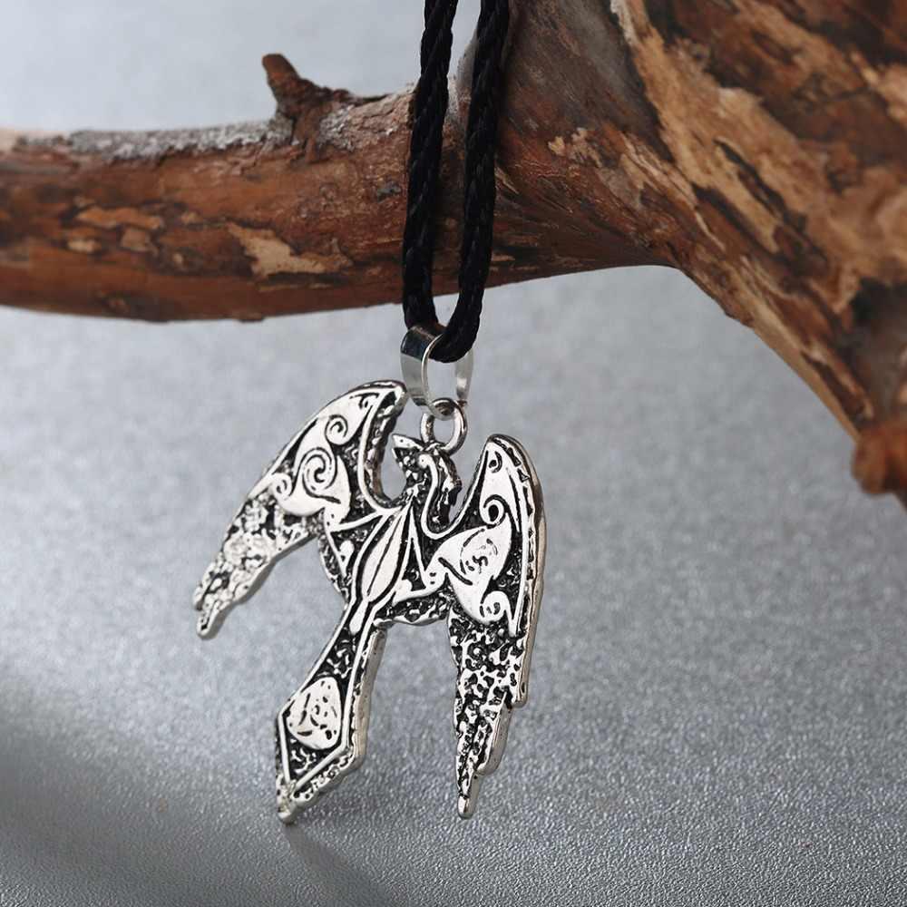 CHENGXUN Mens Viking Odin Raven Kalung Burung Kalung Celtic Simbol Jimat Slavia Kuno Dinosaurus Liontin Besar Perhiasan