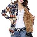 Nova Camisa Blusa Mulheres Outono Inverno Quente Mais Grossa de Veludo Longo-Parte Inferior do Algodão de Mangas Compridas Camisa Xadrez Fino Feminino Blusas