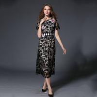 Women 2017 Lace Black Dresses Female Floral Embroidery O-Neck Robes Short Sleeves Patchwork Hollow Out Vestidos Plus Size N618