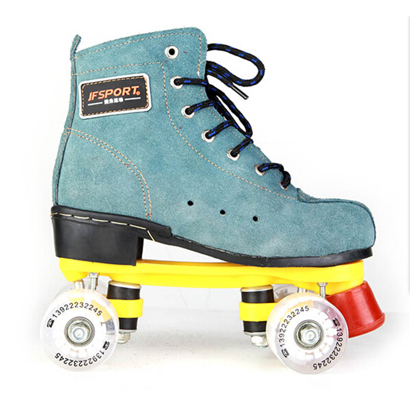 Roller Skates Blue Genuine Leather With Led Lighting Wheels Double Line Skates Adult 4 Wheels Two line Roller Skating Shoes