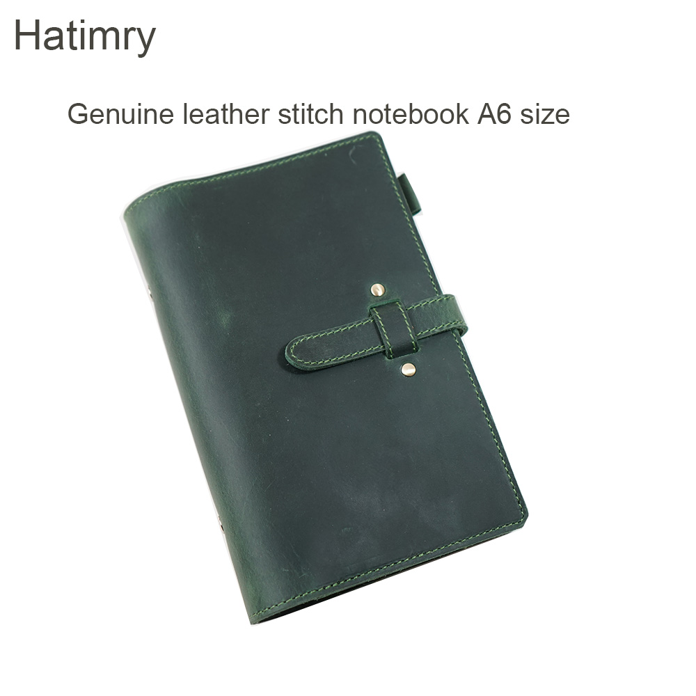 Haitmry DIY Genuine Leather A6 size Stitch Spiral jorunal Notebook loose leaf Cowhide Diary ring binder book business books