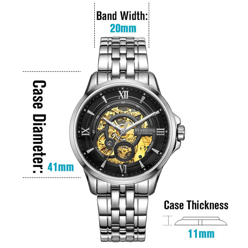 STARKING Luxury Watch Men Skeleton Automatic Mechanical Watches China Famous Brand Stainless Steel Watch Relogio Masculino 3