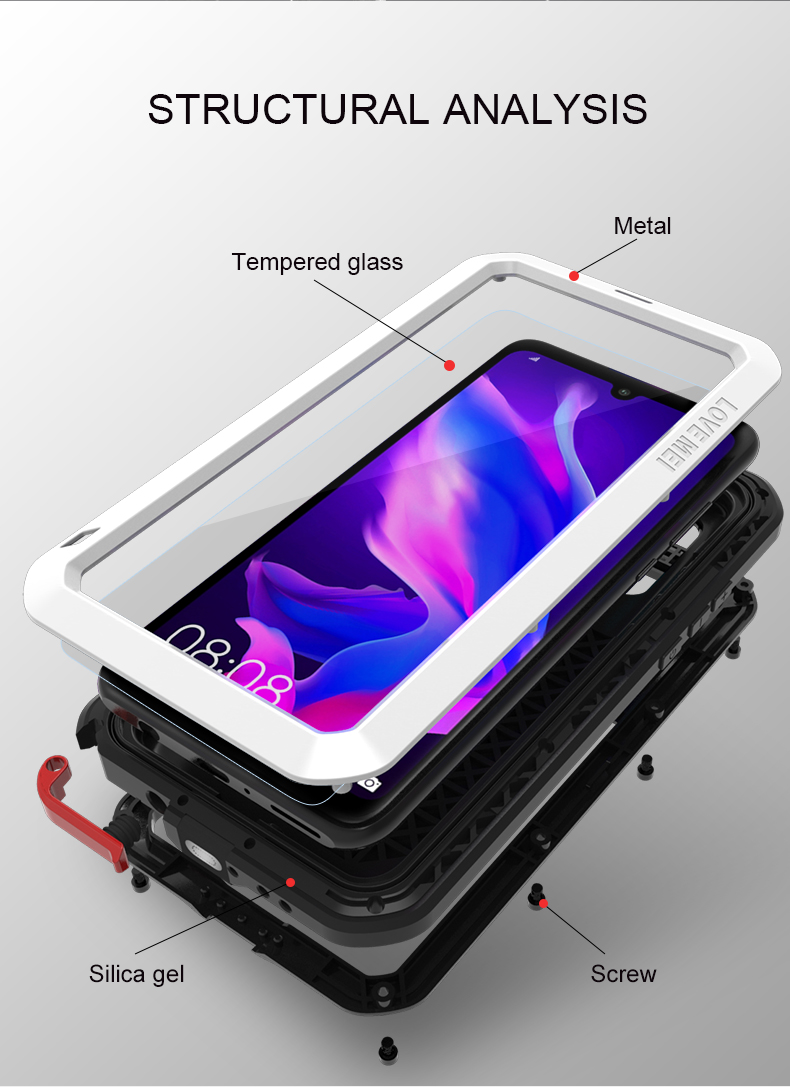 Aluminum Metal Armor Case For Huawei P30 Lite Shockproof Waterproof Full Body With Gorrila Glass Cover Huawei P30 Pro Case Armor in Fitted Cases from Cellphones Telecommunications