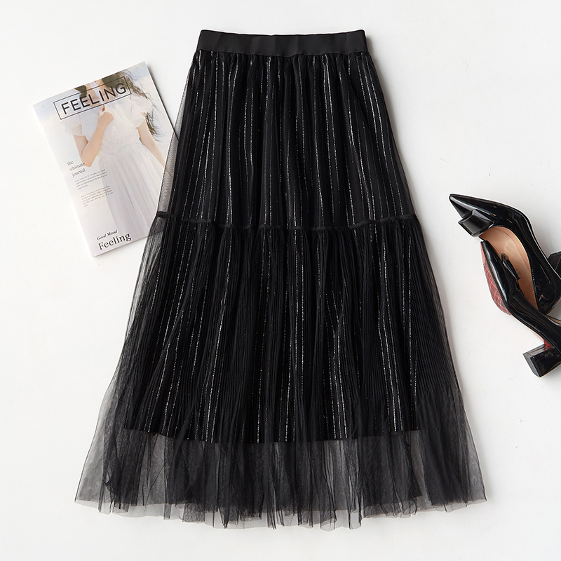 2019 high quality new Women winter Metallic Silver Pleated Skirt long voile mesh Skirt High Waist Elascity Casual Party Skirt