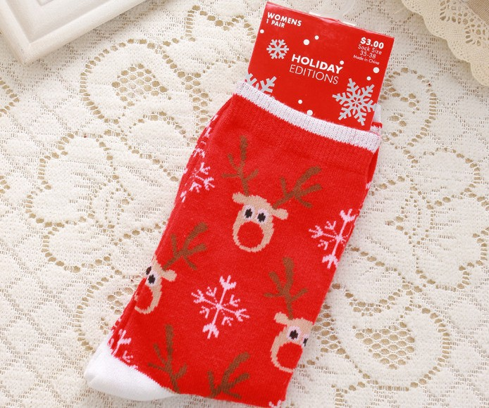buy cotton christmas stockings couple cute elk snowflakes santa claus socks for men and women christmas socks with gift boxes from