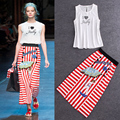 High Quality 2016 Spring And Summer Drilling Hot New Printing Sleeveless Vest + Striped Skirt Suit Women's Decorative Buttons