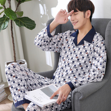 Yuzhenli Men's Pajamas Autumn Long Sleeve Sleepwear Cotton Plaid Casual Pyjamas Men Lounge Pajama Sets Home Clothing Plus 3XL