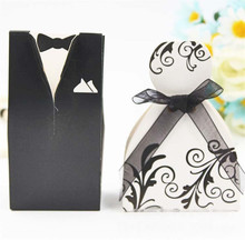 100 Pcs/set Bridal Gift Cases Groom Tuxedo Dress Gown Ribbon Wedding Favor Candy Box Wedding Favors And Gifts candy boxes tuxedo