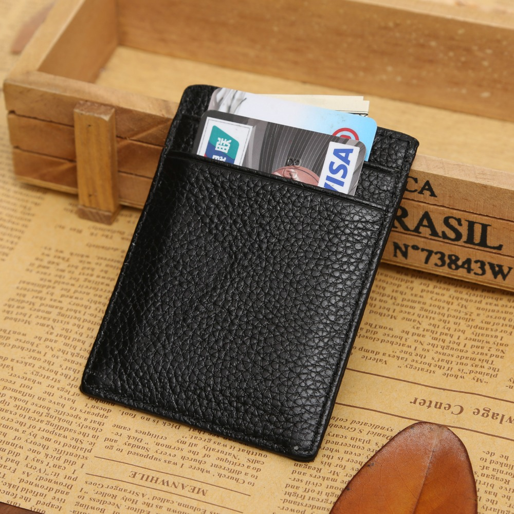 JINBAOLAI 2017 Fashion Men Business Card Holder Genuine Leather Male Card Bit Coin Purse Wallet with Photo Slot for Men