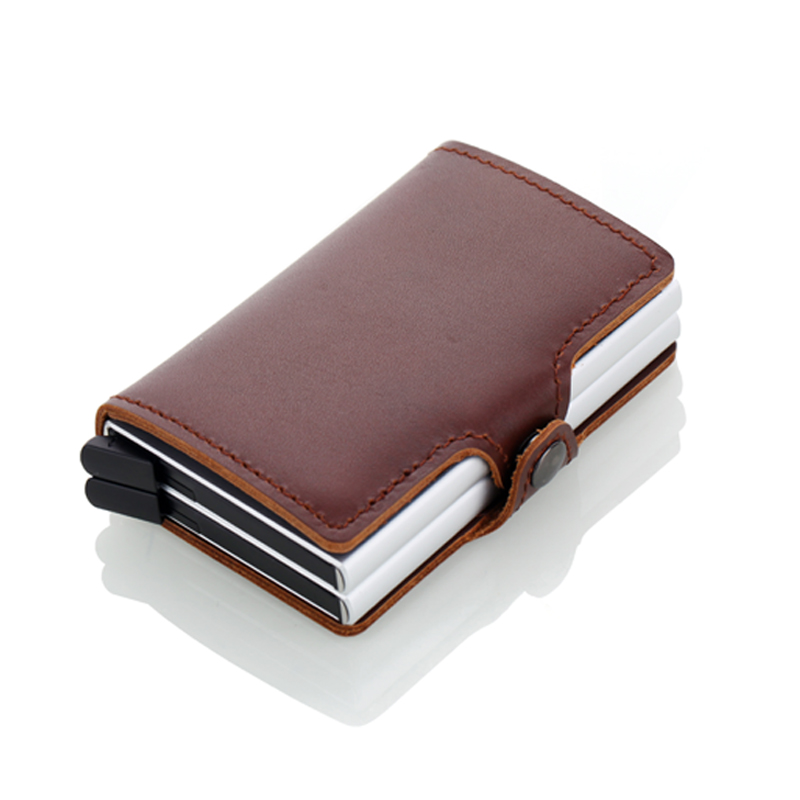Men Credit Card Holder Double Box Genuine Leather Fashion Mini Safe Aluminum Antimagnetic Purse Card Case in Card ID Holders from Luggage Bags