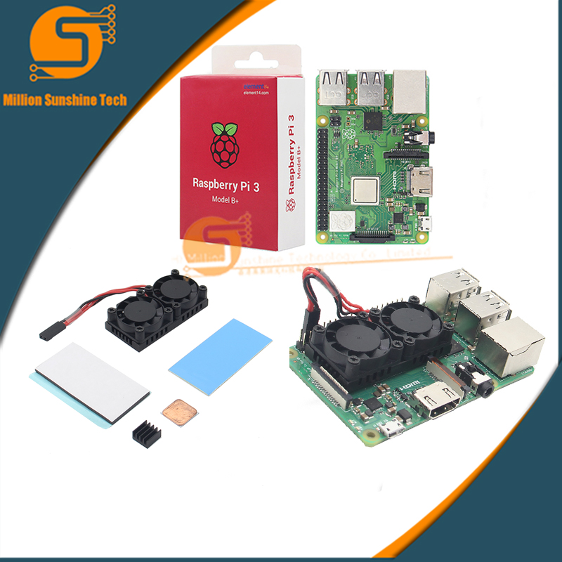 Free Shipping Raspberry Pi 3 Model B+plus+ Dual Fan Cooling System Module With Heatsink For Pi3 B+ / NESPi Case
