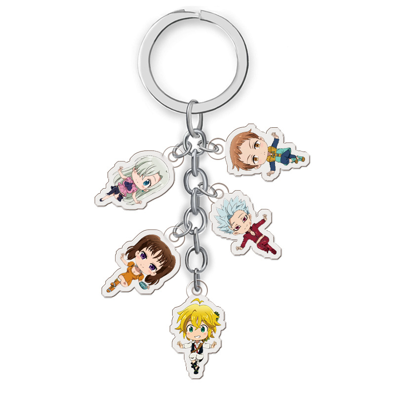 5 In 1 Anime The Seven Deadly Sins Keychain Cartoon Nanatsu No Taizai Figure Meliodas Elizabeth Car Key Chain Pendants Keyrings