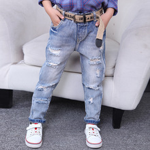 hot deal buy children's clothing 2019 new baby pants tide fan hole jeans light-colored feet girl pants 3-4 6 -8-10-12 years