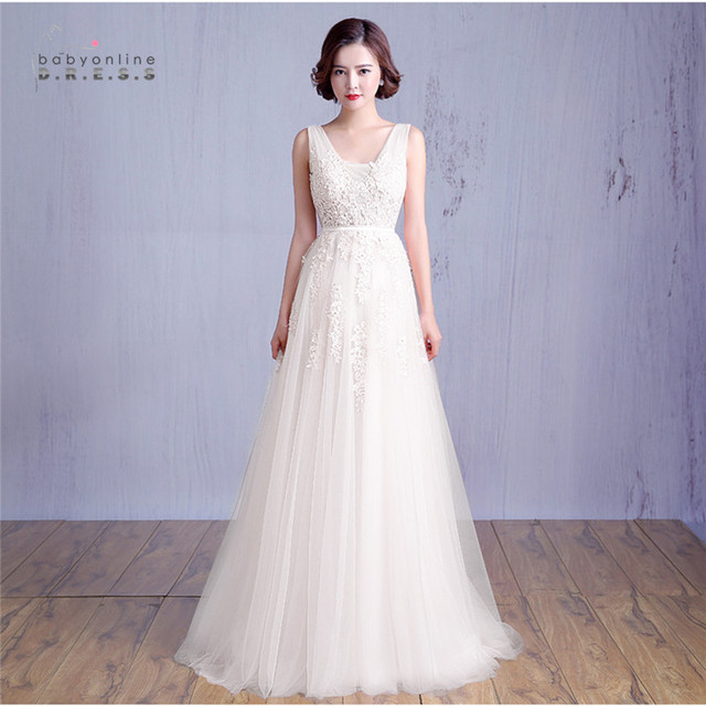 IN Stock Cheap Price A Line Sexy V Back Lace Appliques Pink Long Wedding Dress 2017 Elegant White Ivory Tulle Wedding Gown
