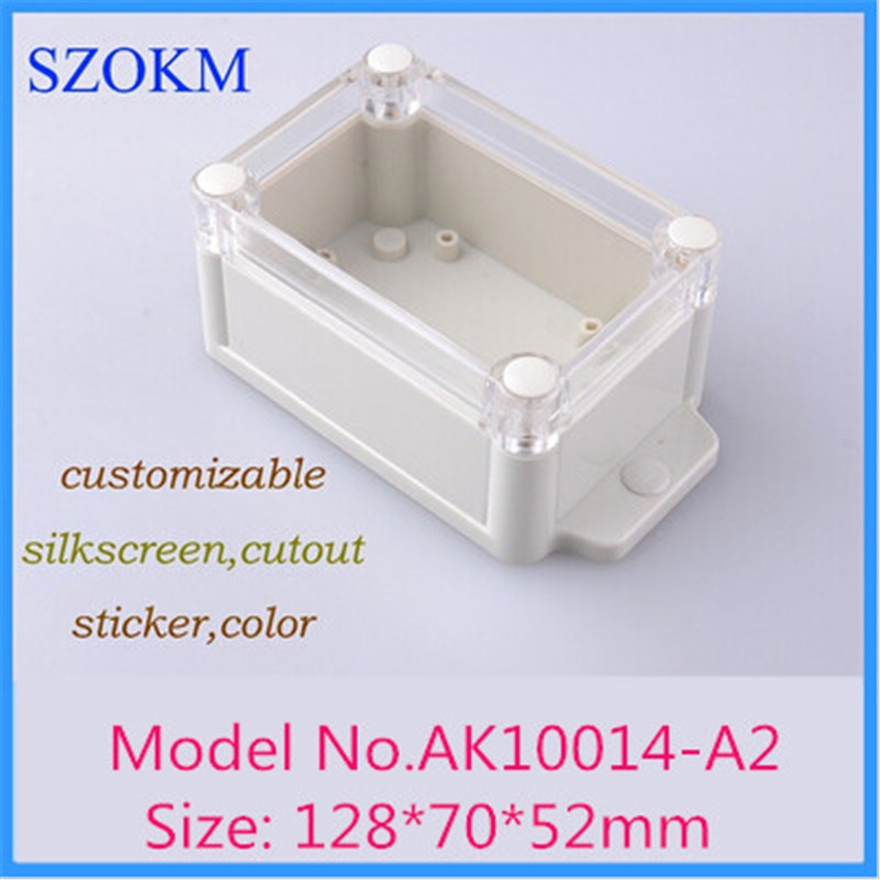 128*70*52mm szomk IP68 wall mounting waterproof control enclosure (4 pcs) electric distribution box diy outlet enclosure 4pcs a lot diy plastic enclosure for electronic handheld led junction box abs housing control box waterproof case 238 134 50mm