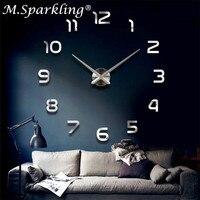 Home Decoration Wall Clock Large Mirror Wall Clocks Modern Design Big Size Orologio Da Parete Diy