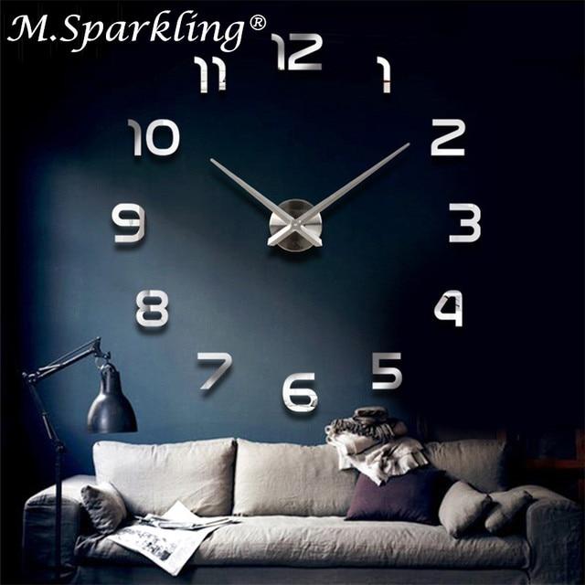 25c586a5457e51 Décoration de la maison Horloge Murale Grand Miroir Horloges Murales Design  Moderne Grande Taille Orologio Da