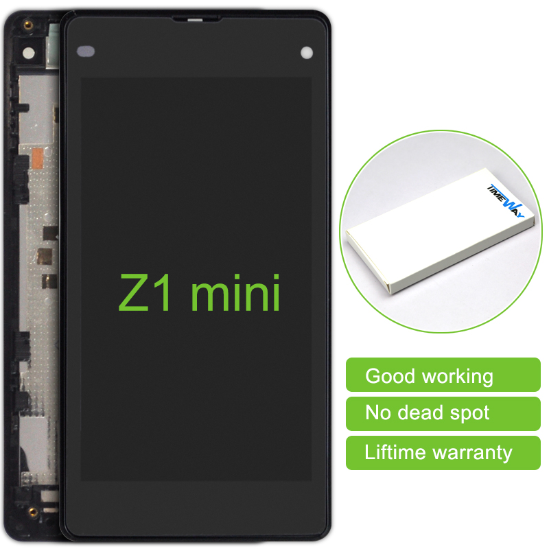 2016 Limited 2pcs LCD Display with touch Screen Digitizer For Sony Xperia Z1 Mini Z1c M51w D5503 Compact Free Shipping +frame dhl 10pcs 2015 new lcd display touch screen digitizer assembly with frame for sony xperia z1 mini d5503 z1c m51w free shipping
