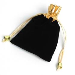 50 шт. золото Цвет Топ бархатный шнурок украшения подарок мешок 9.5x12 см, конфеты праздник новогоднее; рождественское/свадебный подарок сумка