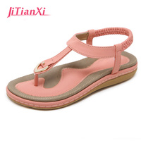 2018 Summer New Sweet Sandals Bohemian Flower Flat Sandals Fashion Foreign Trade Large Size Shoes