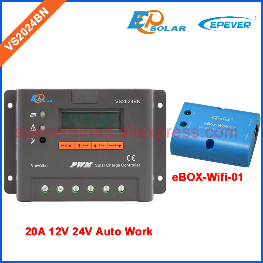 20A regulator solar panel 12v 24v system use EPEVER PWM controller VS2024BN with wifi BOX eBOX-Wifi-01 20amp 20a 12 24v solar regulator with remote meter for duo battery charging