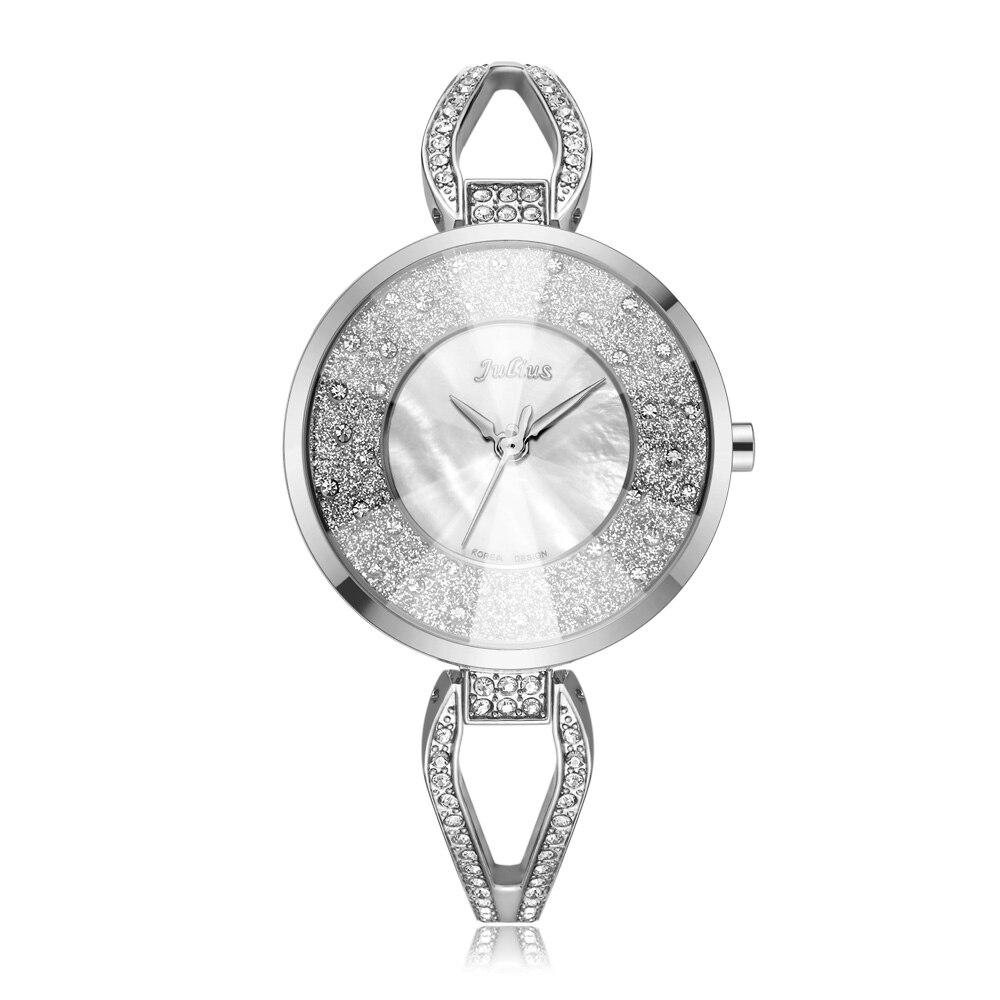 Julius high quality ladies bracelet watch fashion ladies elegant wear watch shiny silver gold bracelet watch JA-389(China)