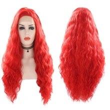 שמחה ויופי סינטטי תחרה מול פאה קינקי מתולתל 26 אינץ ארוך עמיד בחום שיער אדום צבע נשים יומי איפור מסיבת נשים פאות
