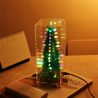 DIY Kit RGB Flash LED Circuit Kit Colorful 3D Christmas Trees Kit MP3 Music Box With